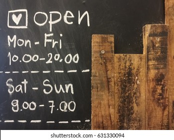 chalkboard cafe - opening time