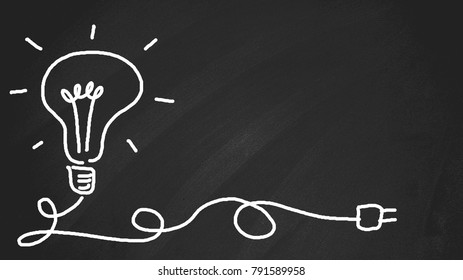 """Chalkboard with chalk doodle, can put more text at a later. The blackboard writing with chalk and the concept of business and finance, Blackboard with chalk to write the text """"IDEA"""""""