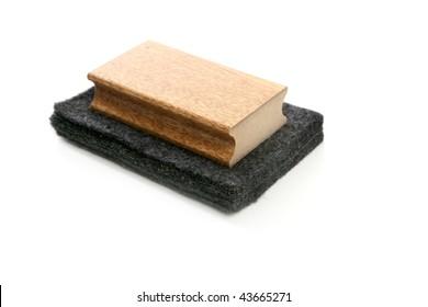 Chalkboard cleaner sponge for blackboard chalk isolated on white