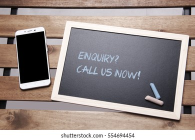 Chalkboard Concept - Call Us Now with Mobile Phone