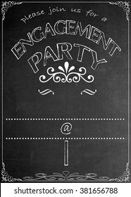 Chalkboard Engagement Party Invitation Blackboard Engagement  Party Celebration Invitation. Just add your  text in the empty spaces  to suit your location, date, name, etc.