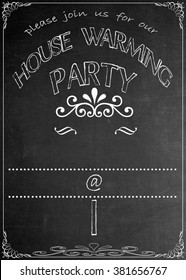 Chalkboard Housewarming Party Invitation Blackboard House Warming  Party Celebration Invitation. Just add your  text in the empty spaces  to suit your location, date, name, etc.