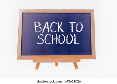 chalkboard isolated on white background with word BACK TO SCHOOL