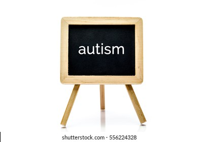 Chalkboard isolated on white background with autism word title
