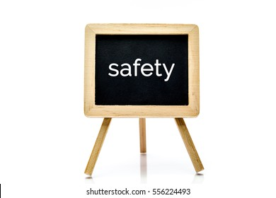 Chalkboard isolated on white background with safety word title