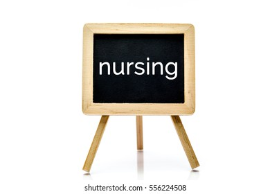 Chalkboard isolated on white background with nursing word title
