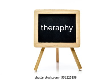 Chalkboard isolated on white background with theraphy word title