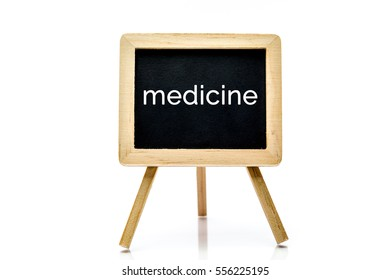 Chalkboard isolated on white background with medicine word title