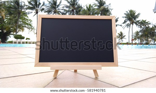 chalkboard at pool. Composition of Nature.