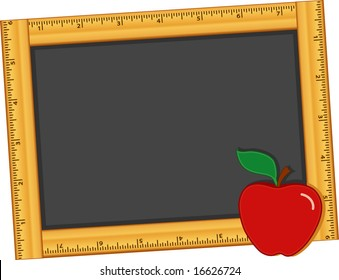 Chalkboard Ruler Frame, blackboard with an apple for the teacher for education, back to school, literacy projects, scrapbooks, arts & crafts. Copy space for text or art.