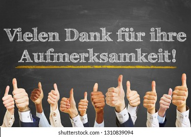 """Chalkboard saying in German """"Vielen Dank für Ihre Aufmerksamkeit"""" (Thank you for your attention)"""