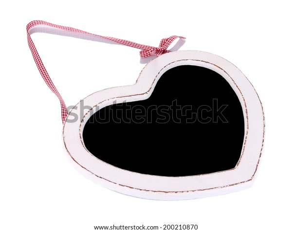 Chalkboard in shape of heart isolated on white