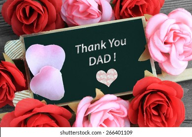 chalkboard sign showing thank you dad message