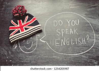 Chalkboard with text do you speak english?