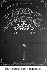 Chalkboard Wedding Anniversary Party Invitation Blackboard Wedding Anniversary  Party Celebration Invitation. Just add your  text in the empty spaces  to suit your location, date, name, etc.