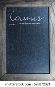 """chalkboard with wooden frame with french text """"courses"""" for shopping list written layout template background"""