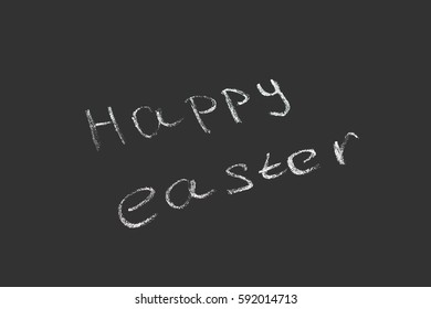 Chalkboard with the words Happy Easter