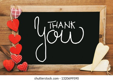 Chalkbord, Red And Yellow Hearts, Calligraphy Thank You