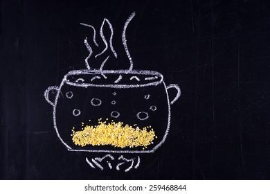 Chalked pan. Cook porridge