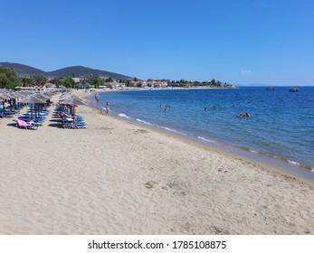 CHALKIDIKI, GREECE - CIRCA AUGUST 2019: View of Skala Gerakini beach
