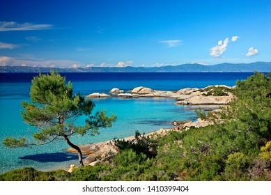 "CHALKIDIKI (""HALKIDIKI""), MACEDONIA, GREECE -May 17, 2014. Famous Kavourotrypes beach, Sithonia peninsula."