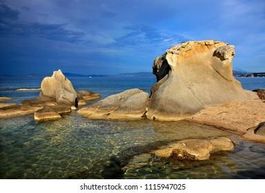 CHALKIDIKI MACEDONIA GREECE. Impressive rocks at Kakoudia beach, close to Ierissos town (Aristotle Municipality).