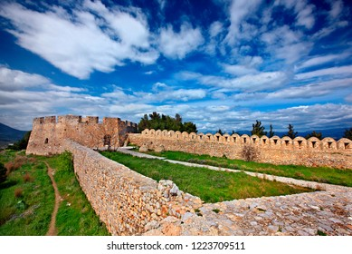 CHALKIS TOWN, GREECE- April 7, 2015. The fortress of Karababa, at the Boeotian side of Chalkis town.