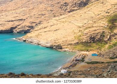Chalkolimnionas beach at Andros island in Greece. A beautiful summer destination.