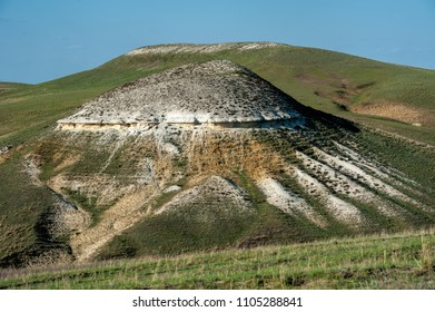 Chalky mountain near Kamyshinskiy, Ilovlinskiy district, in Volgograd region, Russia. Formed by white chalk deposits of limestones from millions yeas ago. It used to be the bottom of the sea.