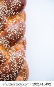 Challah Bread with Sesame Seeds. Close Up View