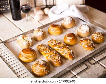 Challah in different shapes and sizes for Shabbat and Rosh Hashanah