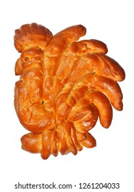 Challah in a shape of cock on white background