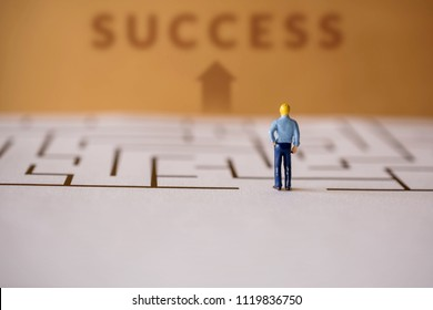 Challenge Concept. present by Miniature Figure of Businessman standing at Entrance of the Maze and Looking for Successful at the Finish Line