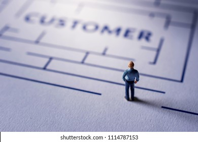 Challenge for Customer Experience Concept. present by Miniature Figure of Businessman standing on the Maze, looking for a Client Satisfaction