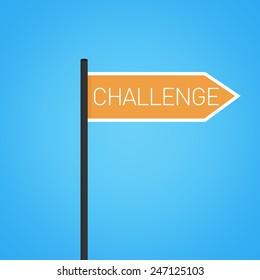 Challenge nearby, orange road sign concept, flat design