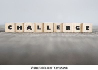 CHALLENGE word made with building blocks