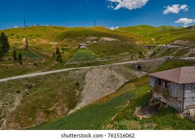 Challenging mountain unpaved road Akhaltsikhe-Batumi and Rural mountain landscapes of Georgian Adjara region near village of Khulo
