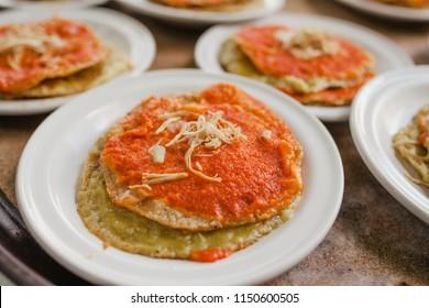 chalupas poblanas mexican food in puebla city spicy snack