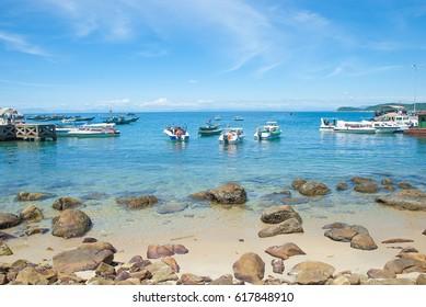 Cham islands, Central Vietnam- circa  june 2012: Boats on the sea.