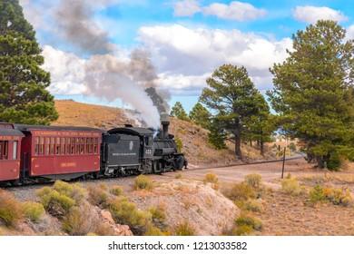Chama, NM USA October 6, 2018 Cumbre and Toltec Narrow Gauge Railroad