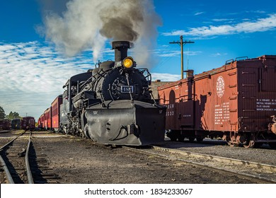 Chama, NM / USA - September 28, 2016: Cumbres and Toltec Passenger Steam Train, from Chama, New Mexico to Antonito, Colorado in the Chama Yard.