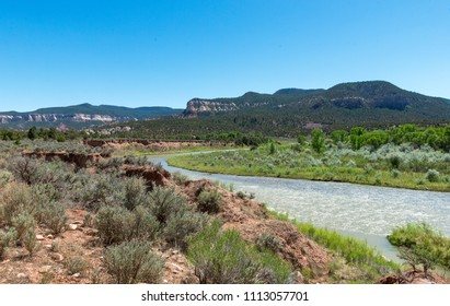 Chama River near Abiquiú, New Mexico is a Tourist and Rafting Destination.