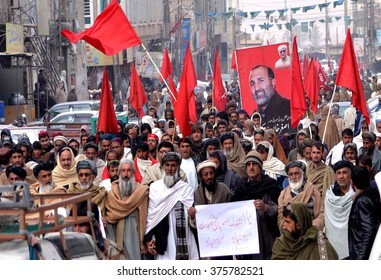 CHAMAN, PAKISTAN - FEB 12: Supporters of the (ANP) are holding a protest rally against law and order situation and illegal check post on Quetta-Chaman highway on February 12, 2016 in Chaman.