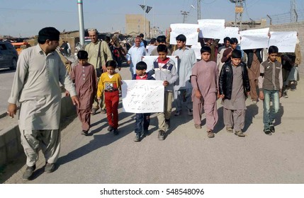 CHAMAN, PAKISTAN - JAN 04: Hindu Community holding protest against  murder of Ravi Arora who killed by unidentified persons on January 04, 2017 in Chaman.