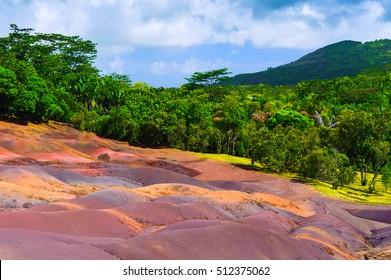 Chamarel seven coloured earths. Mauritius island