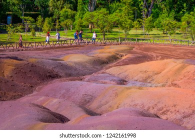 Chamarel/Mauritius - June 2018: Tourists at the Seven Coloured Earths, Mauritius