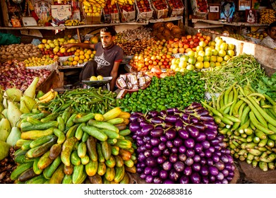 Chamba, Himachal Pradesh, India - 2006: Vegetable stall in local market at Chamba in northern India.