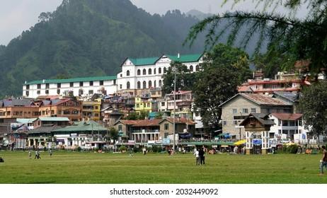 Chamba, Himachal Pradesh, India-August 2021. Beautiful image of market and palace of King of Chamba.