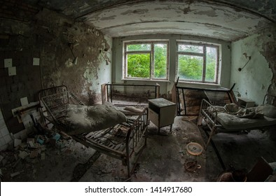 Chamber in an abandoned hospital in Pripyat. Chernobyl Exclusion Zone
