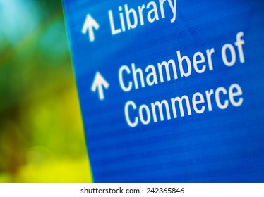 Chamber of Commerce Blue City Information Sign.